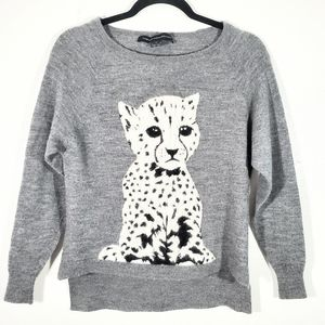 French connection snow leopard cub sweater S